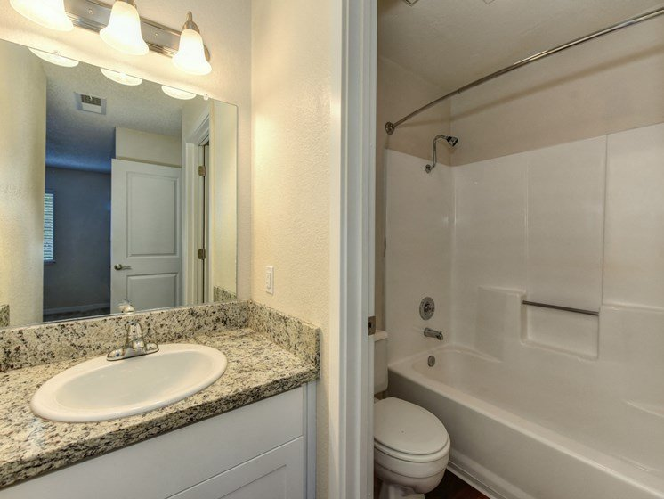 Luxury Apartment Community Bathroom with Vanity and Granite Counters