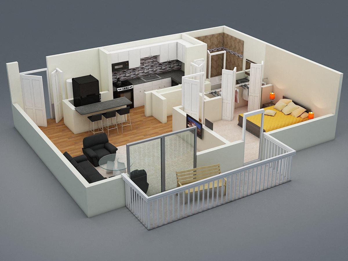 One Bed | One Bath | C1 Floor Plan 1