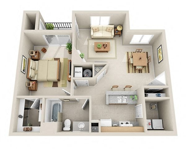 Independent One Bedroom Apartment Floor Plan 3D Image