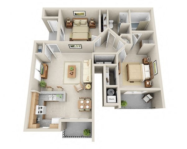 Two Bedroom Apartments Floor Plan