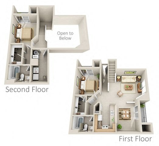 Homebound Two Bedroom Apartment Floor Plan