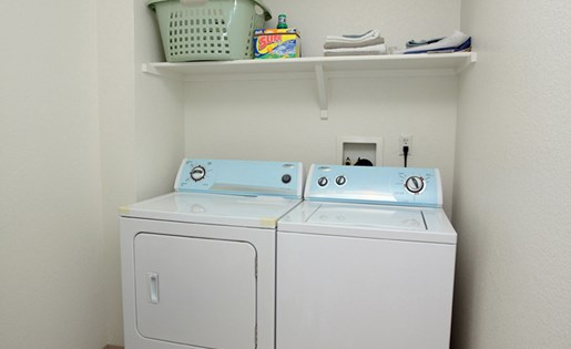 Washer and Dryer Inside Apartment Unit at Redstone Ranch in Green Valley CO