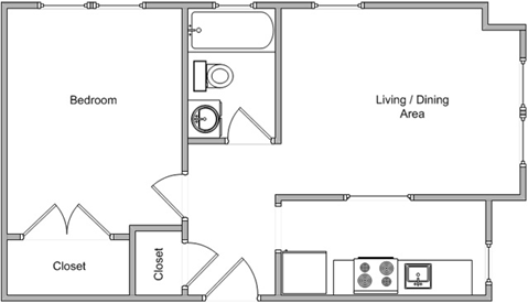 One Bedroom Floor Plan 4
