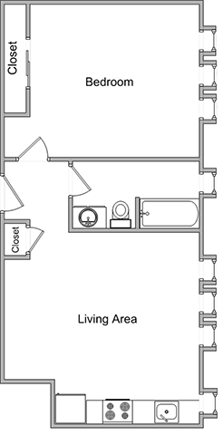 One Bedroom Floor Plan 5