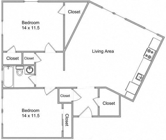 Two Bedroom Floor Plan 6