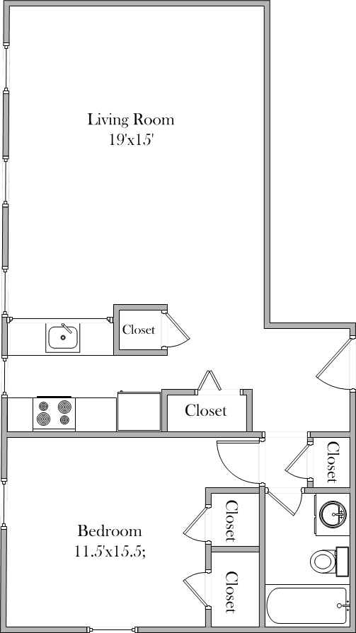 1 Bedroom - Large