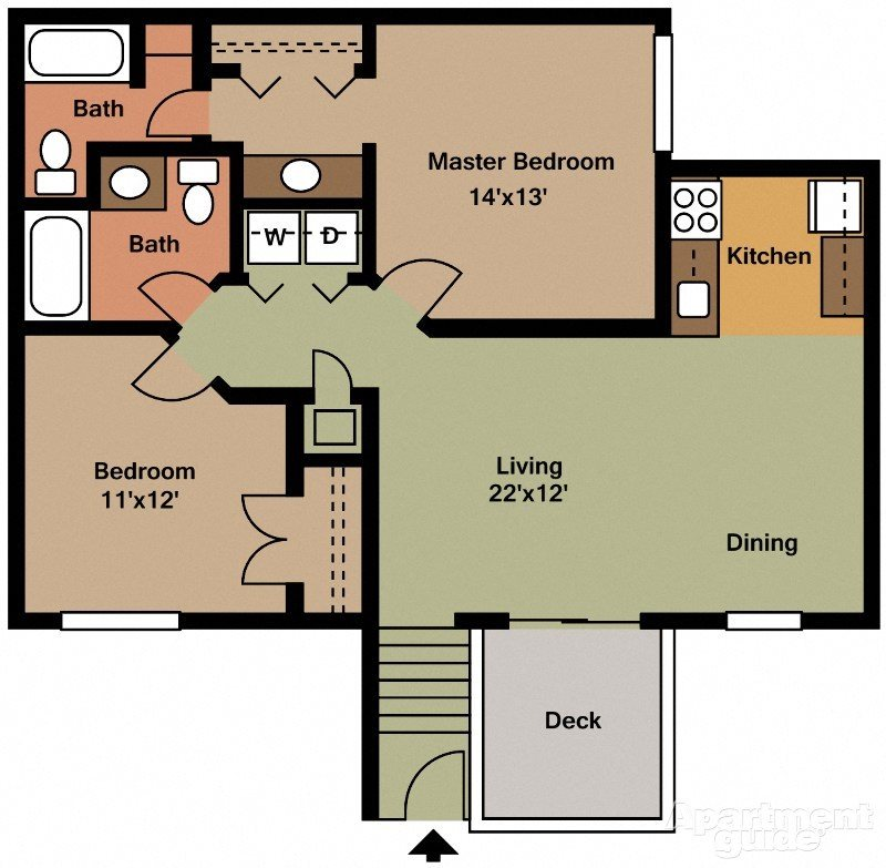 Two Bedroom Two Bathroom (small) Floor Plan 2