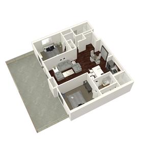 2 Bed 2 Bath Plan A + XL Patio
