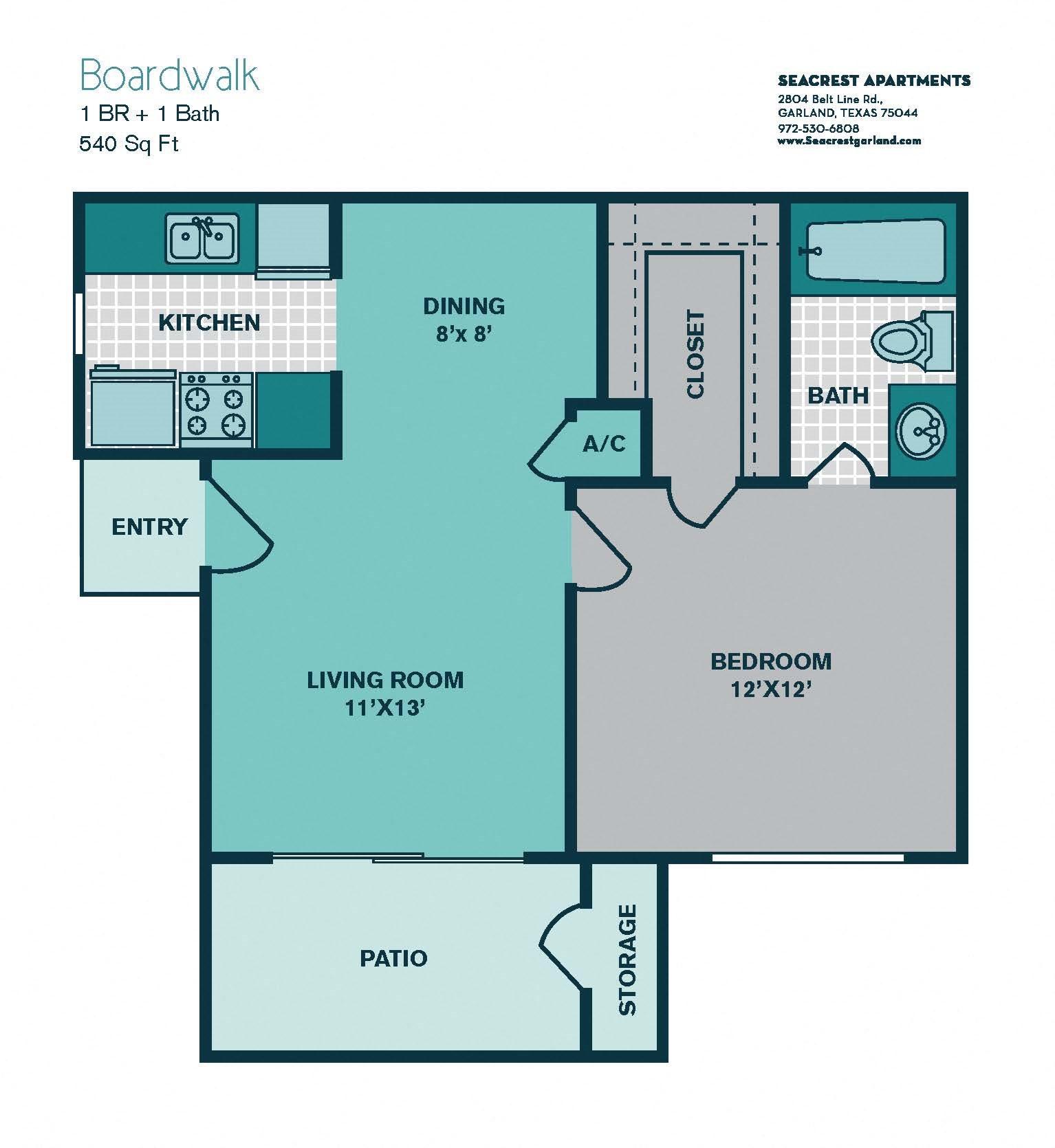 1 Bedroom A1 - 540sqft - BOARDWALK Floor Plan 1