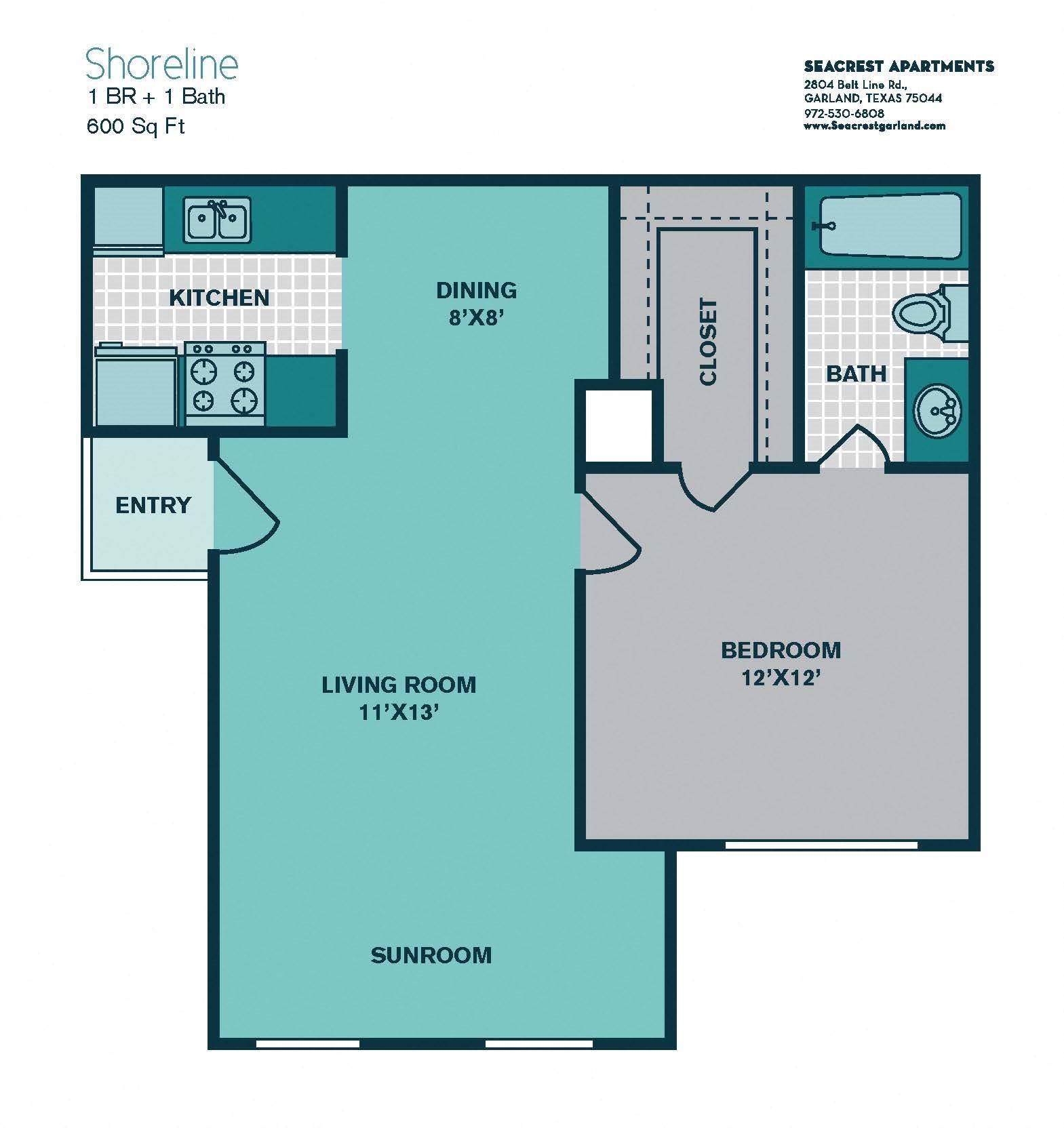 1 Bedroom A2 - 600sqft - SHORELINE Floor Plan 2