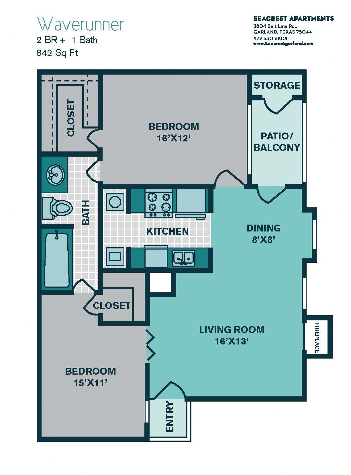 1 Bedroom A5 - 842sqft - WAVERUNNER Floor Plan 5