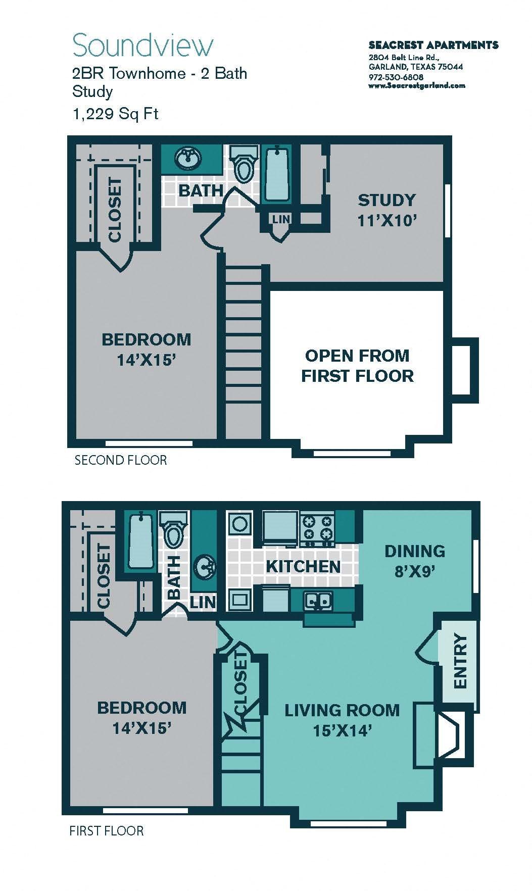2 Bed/ 2 Bath B3 - 1229sqft - SOUNDVIEW Floor Plan 11