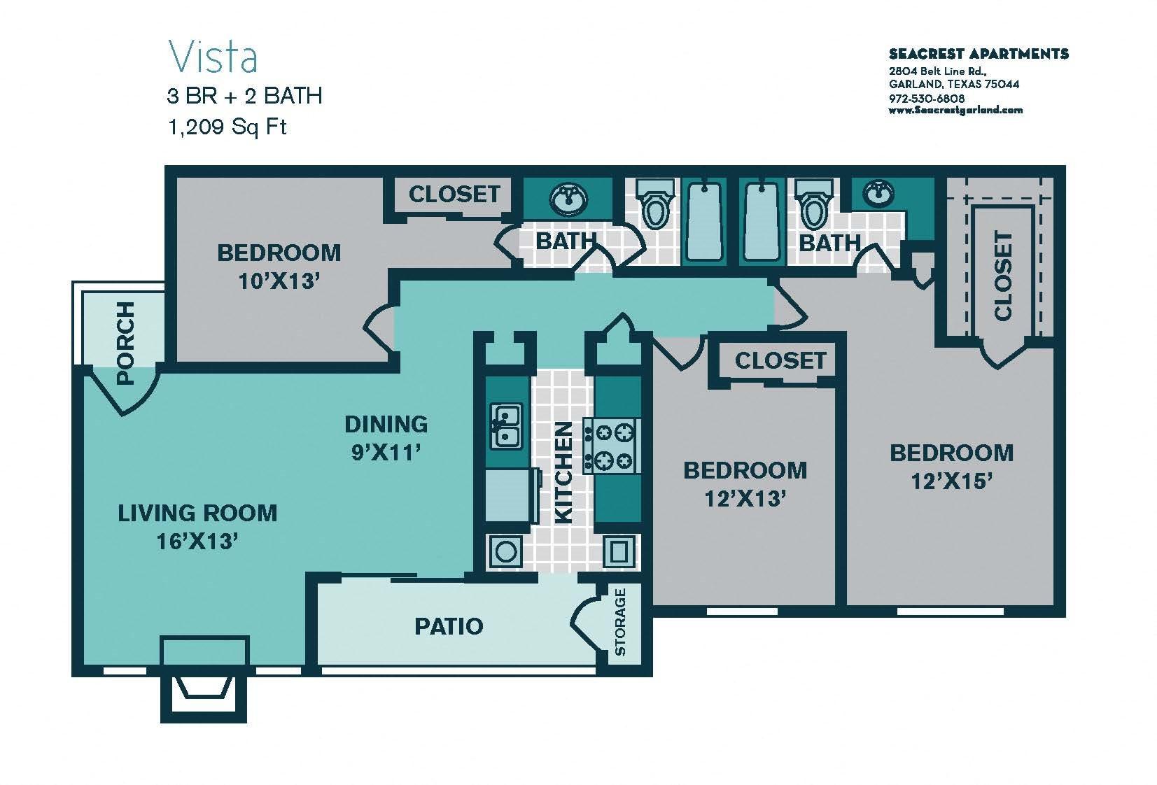 3 Bed/ 2 Bath C1 - 1209sqft - VISTA Floor Plan 13