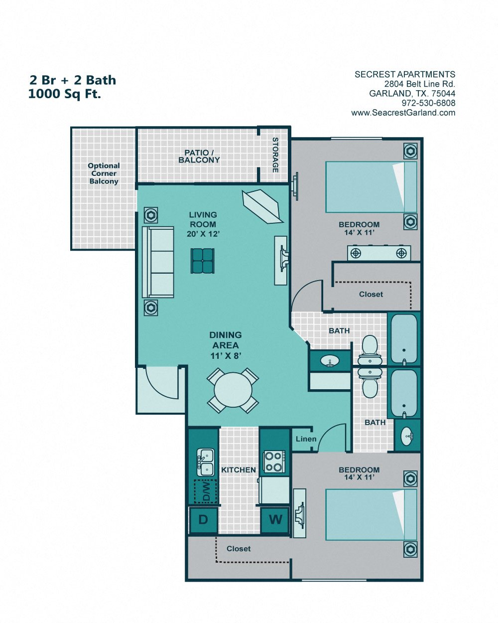Floor Plans Of Seacrest Apartments In Garland, TX