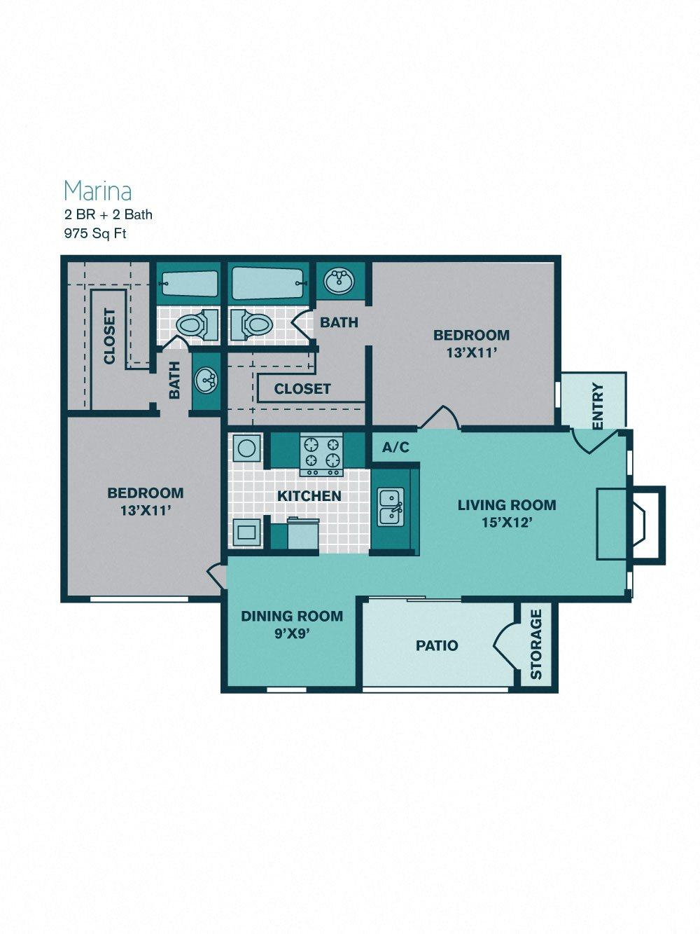 2 Bed/ 2 Bath B2 - 975sqft - MARINA Floor Plan 8
