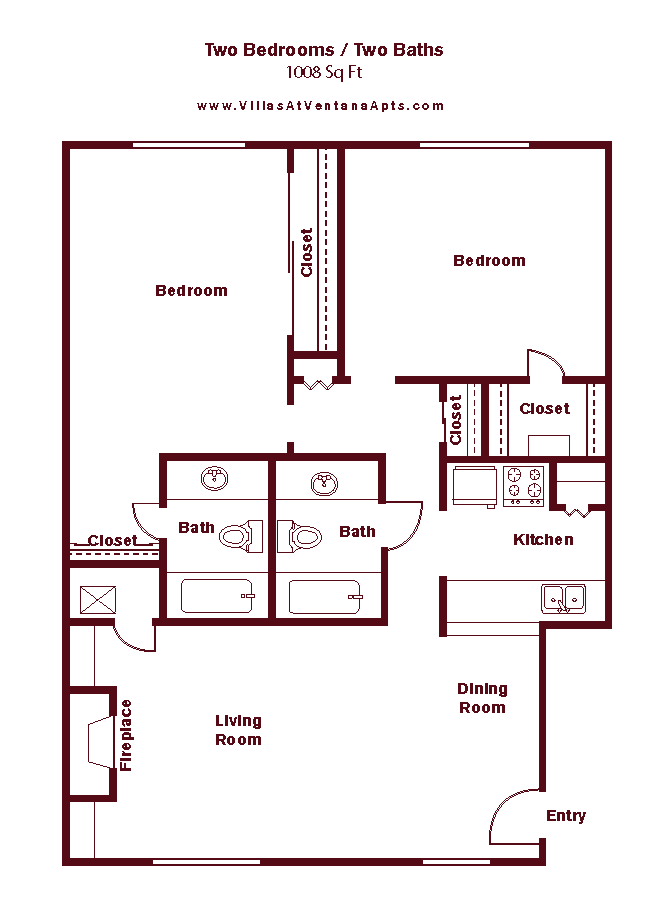 2 Bed/ 2 Bath B5 Floor Plan 15