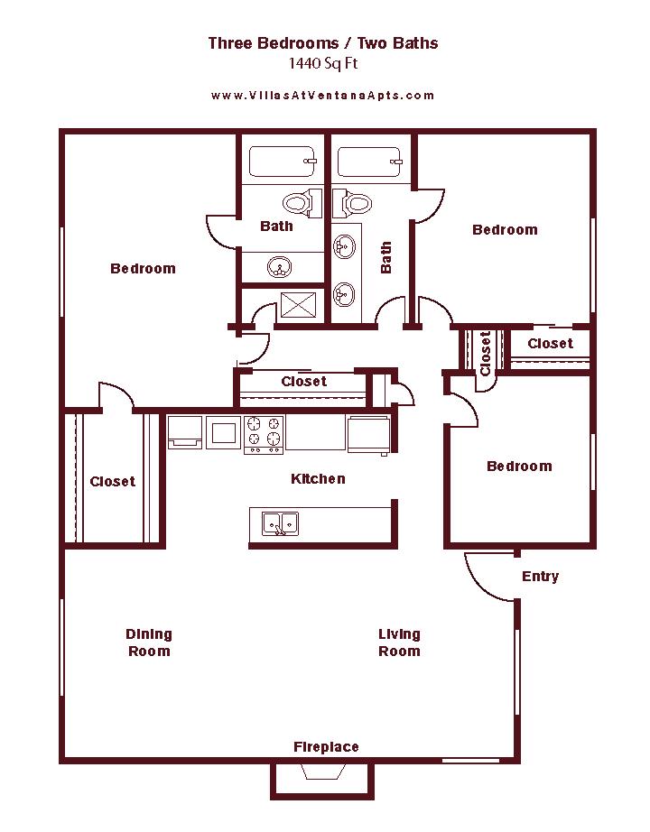 3 Bed/ 2 Bath C1 Floor Plan 24
