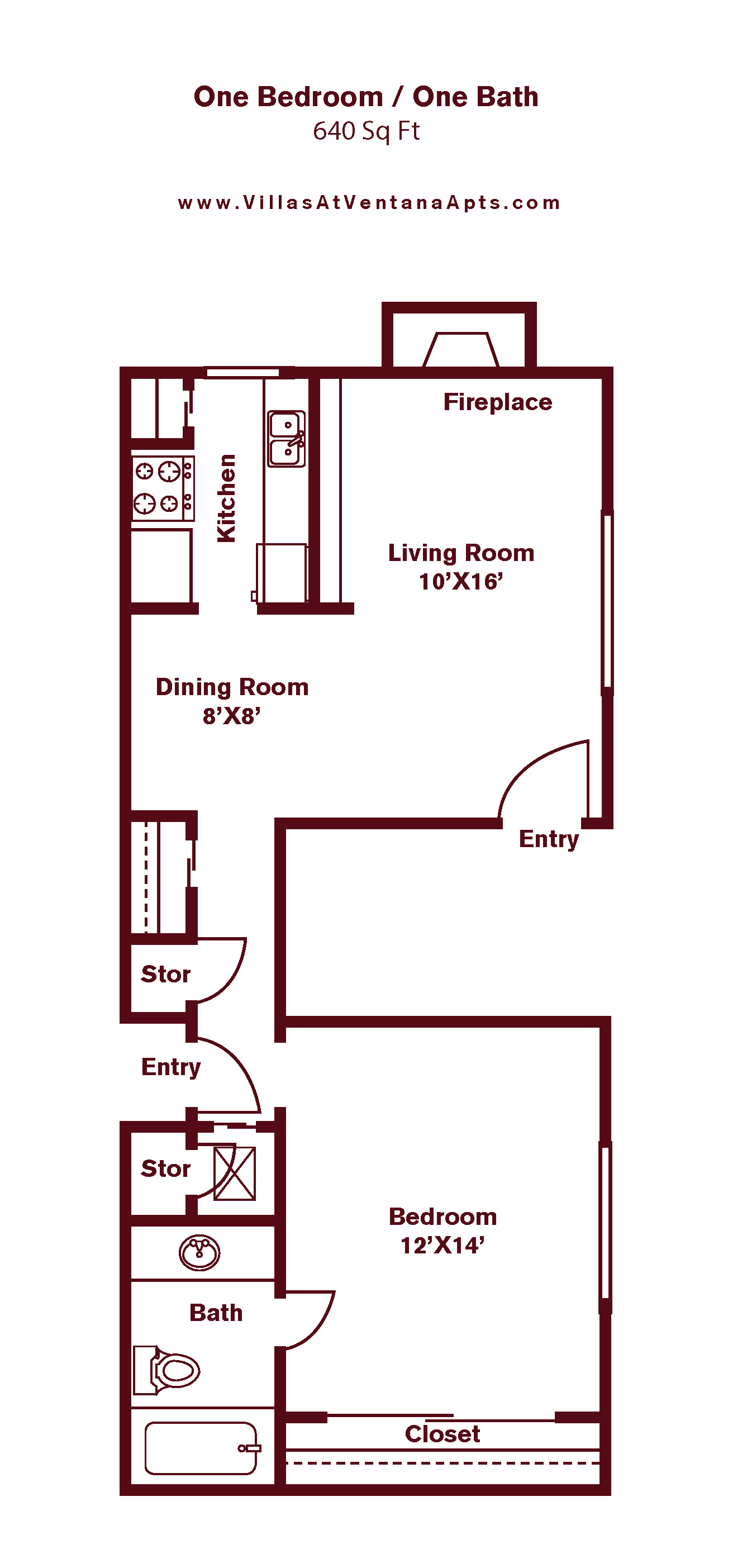 1 Bedroom A2 Floor Plan 2