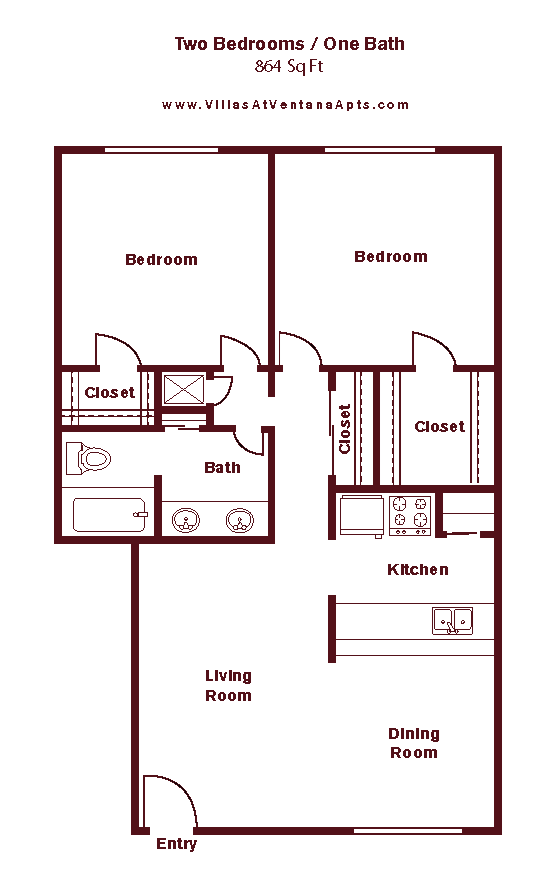 2 Bed/ 1 Bath B2 Floor Plan 12