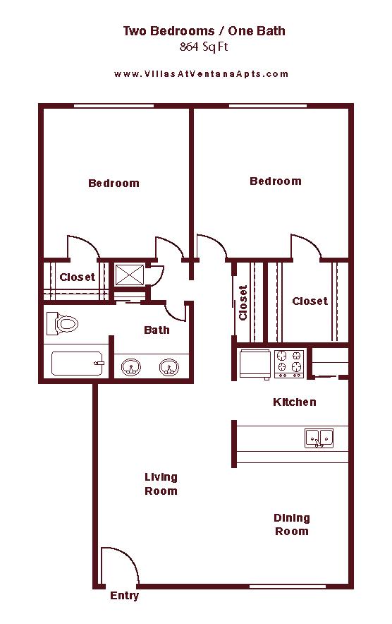 2 Bed/ 1 Bath B4 Floor Plan 14