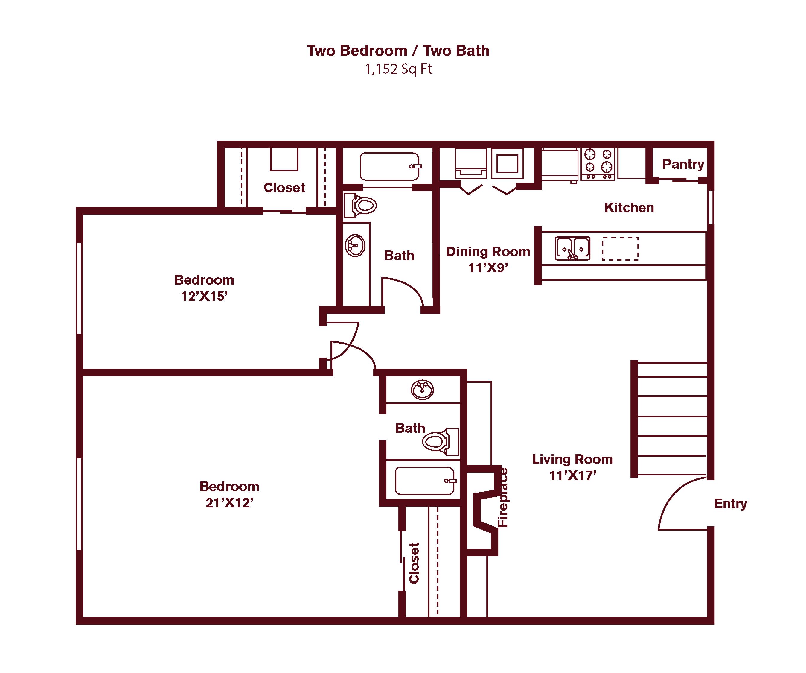 2 Bed/ 2 Bath B9 Floor Plan 20