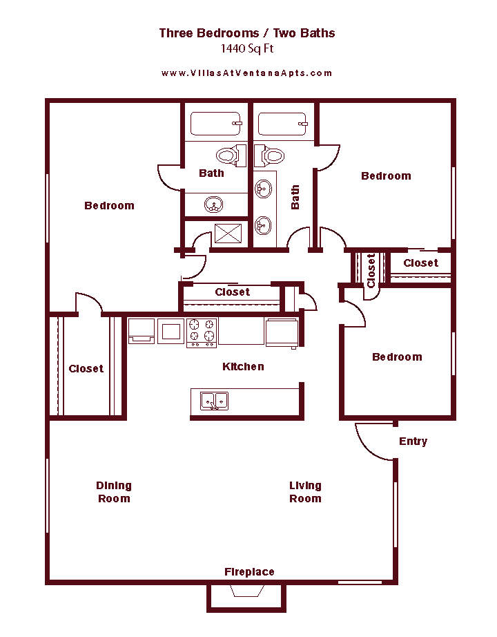 3 Bed/ 2 Bath C2 Floor Plan 25