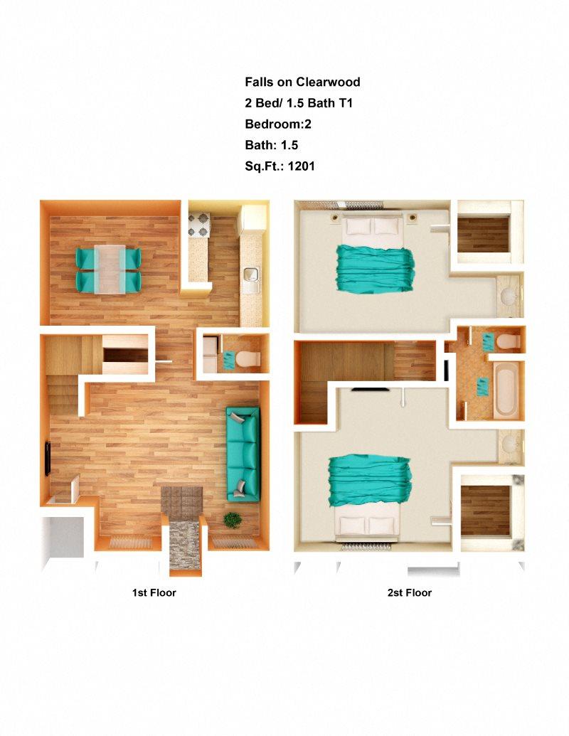 2 Bed/ 1.5 Bath T1 Floor Plan 2