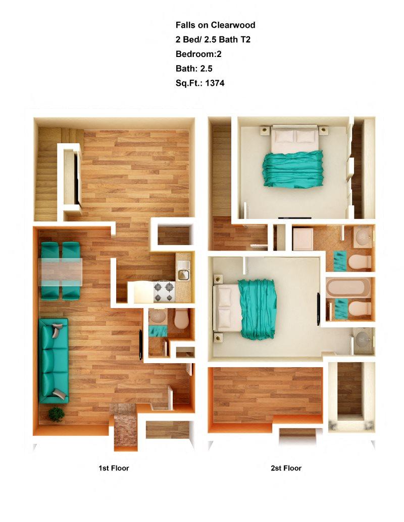 2 Bed/ 2.5 Bath T2 Floor Plan 3