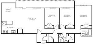 Vista Apartment Homes - 3 Bedroom 2 Bath Apartment