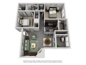 The Westside Apartment Homes - 2 Bedroom 1 Bath Apartment