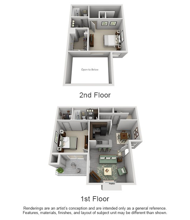 The Westside Apartment Homes - 2 Bedroom 2 Bath Townhome