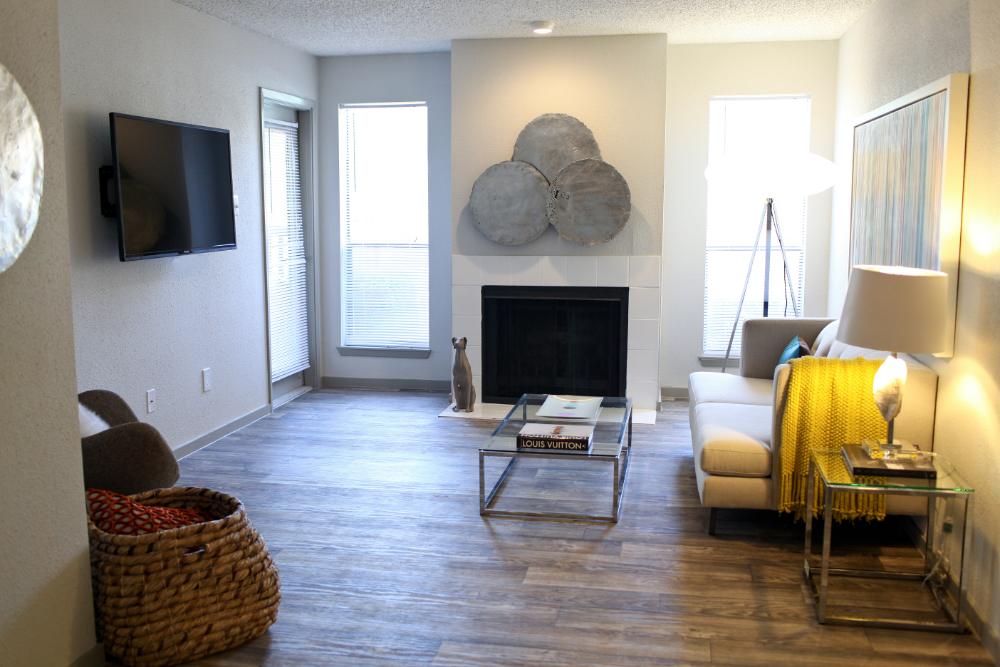 Living Room With Wood Plank Style Flooring. Upgraded Kitchen Picture