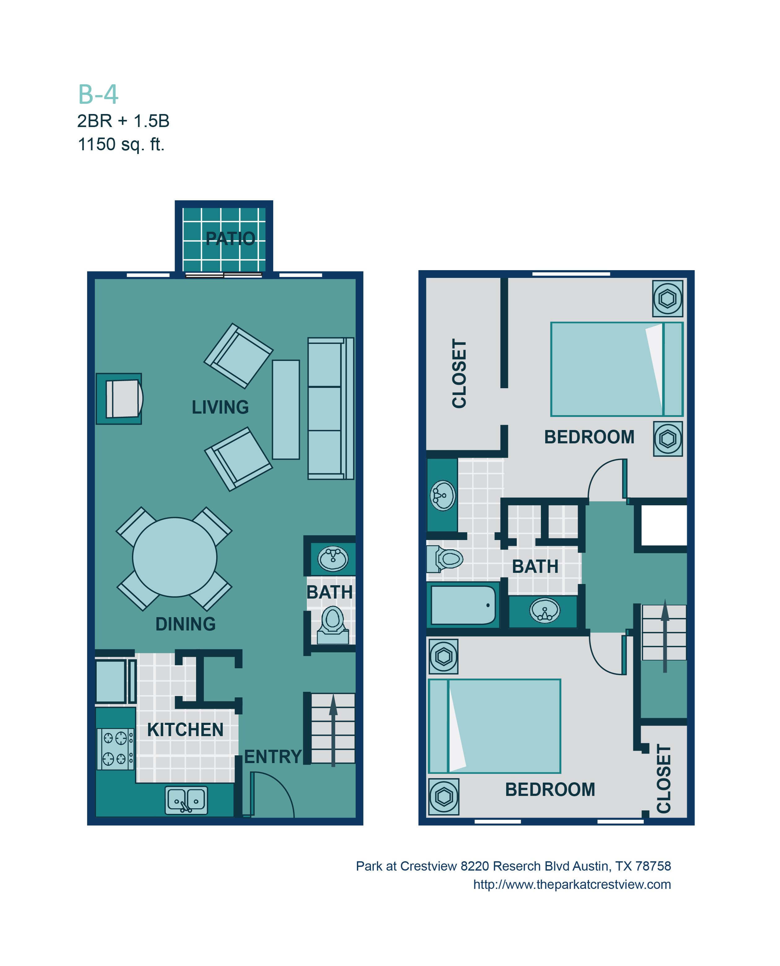 2 Bed/ 1.5 Bath B4 Floor Plan 7