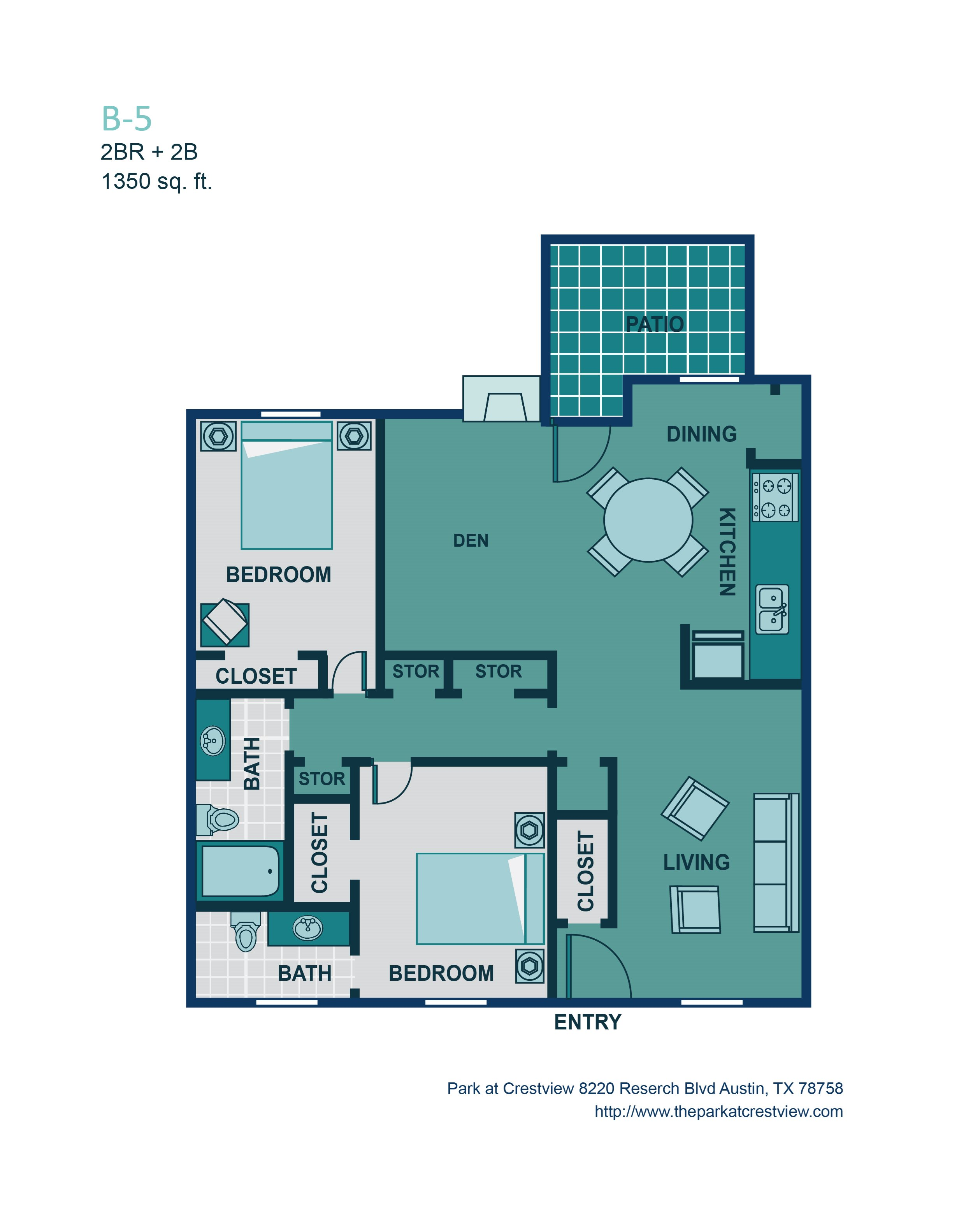 2 Bed/ 2 Bath B5 Floor Plan 8