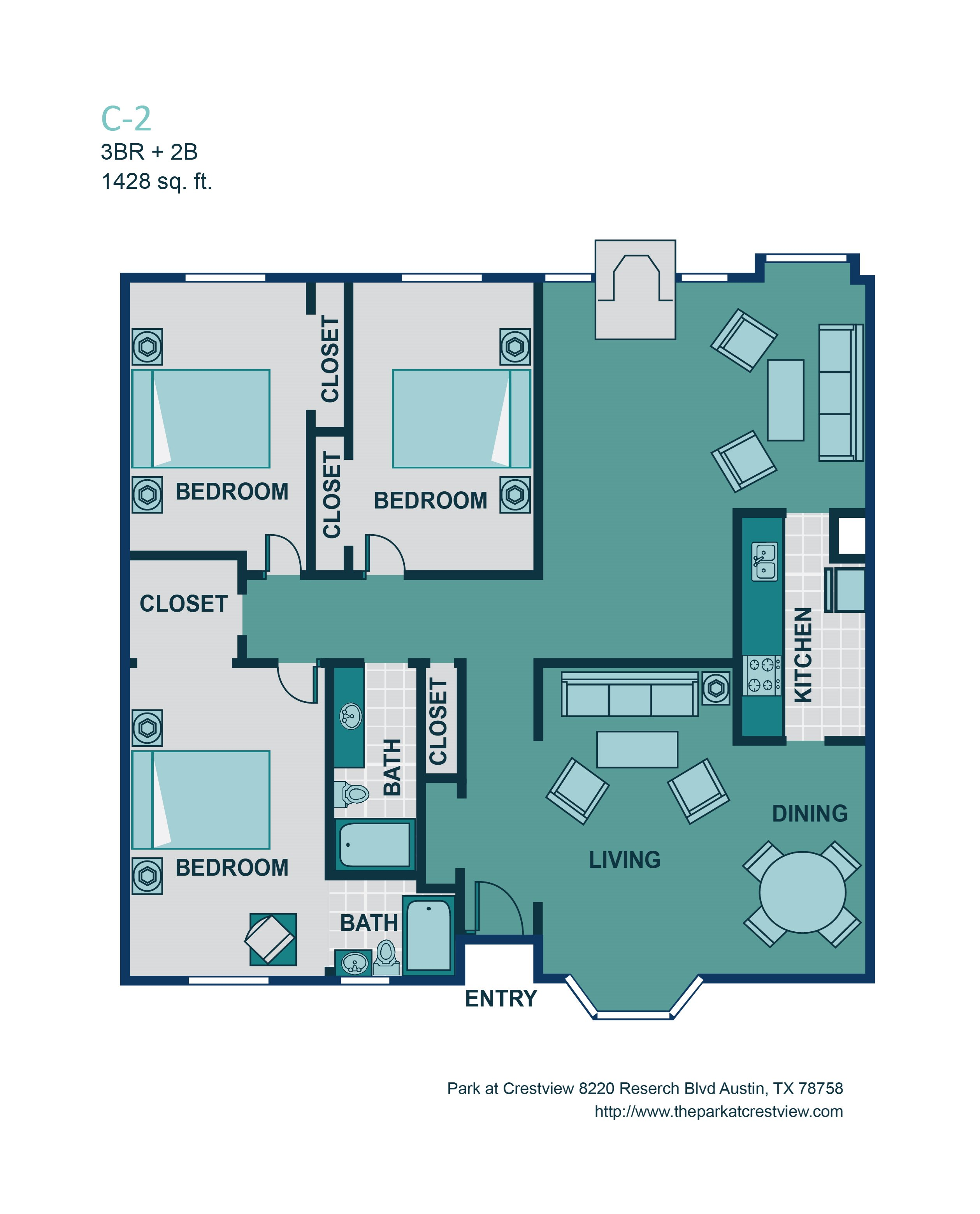 3 Bed/ 2 Bath C2 Floor Plan 10