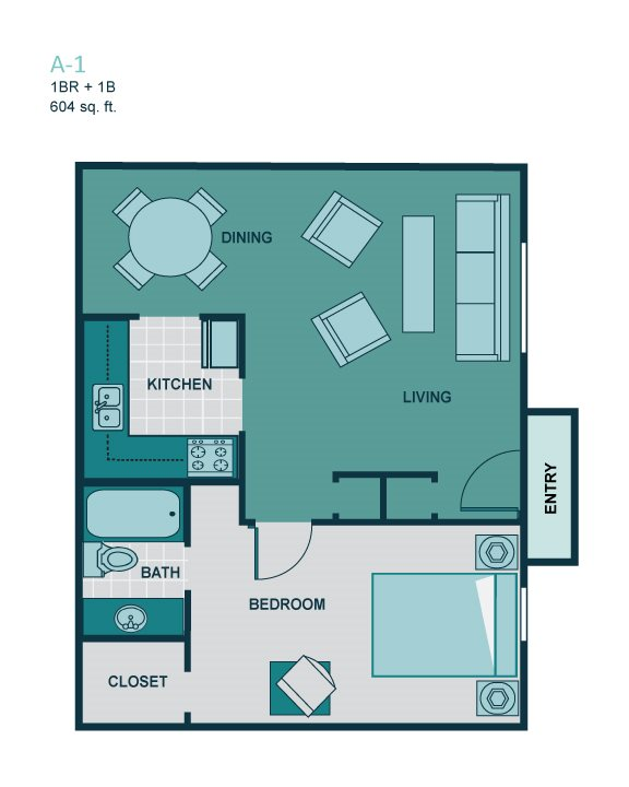 1 Bedroom A1 Floor Plan 1