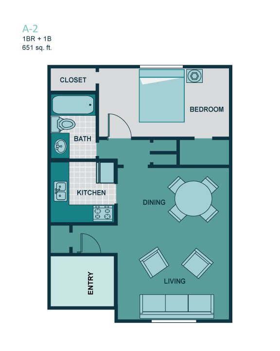1 Bedroom A2 Floor Plan 2