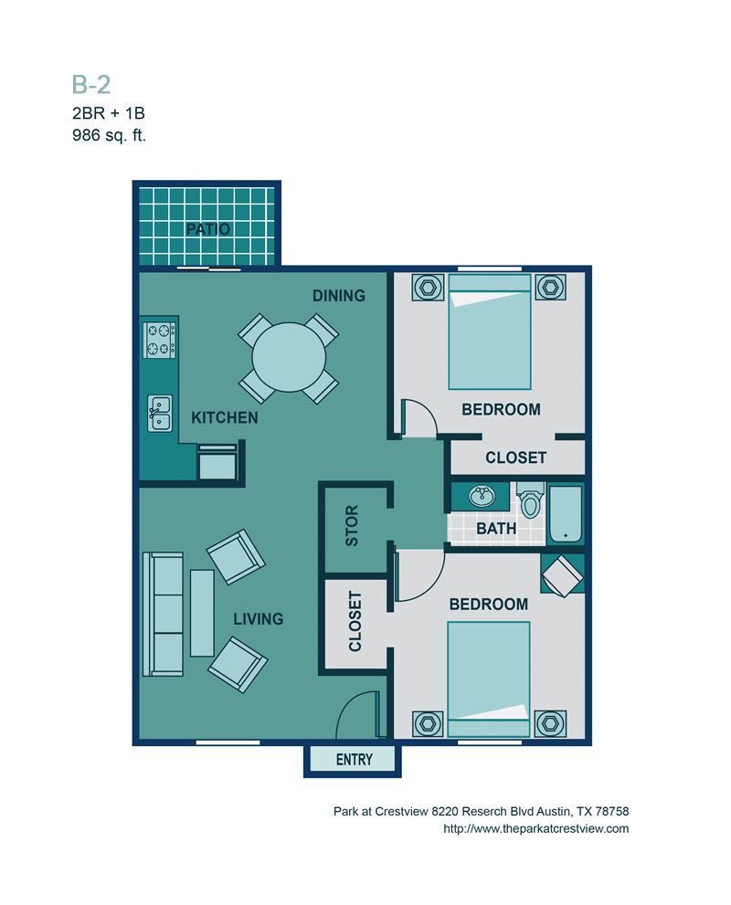 2 Bed/ 1 Bath B2 Floor Plan 5