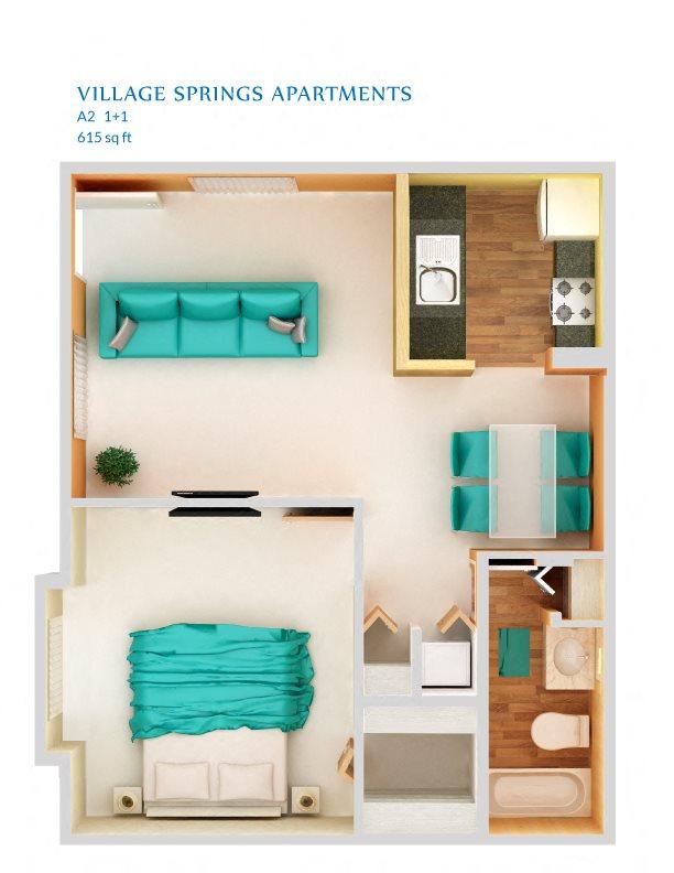 1 Bedroom A2 Floor Plan 3