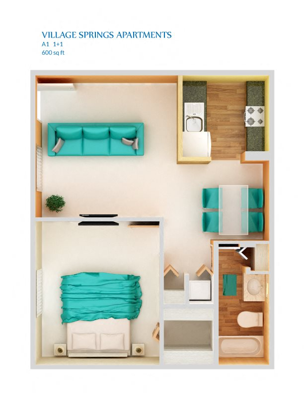 1 Bedroom A1P Floor Plan 2