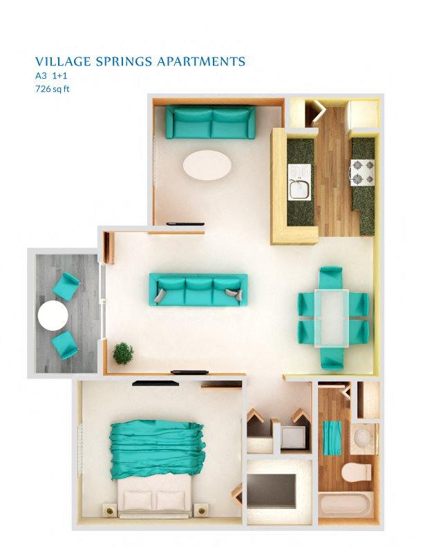1 Bedroom A3P Floor Plan 6