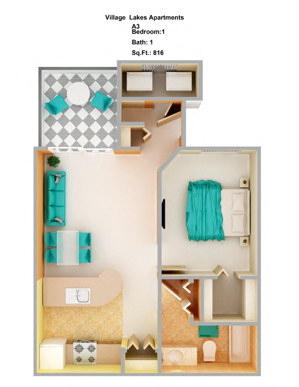 1 Bedroom A3 Floor Plan 3