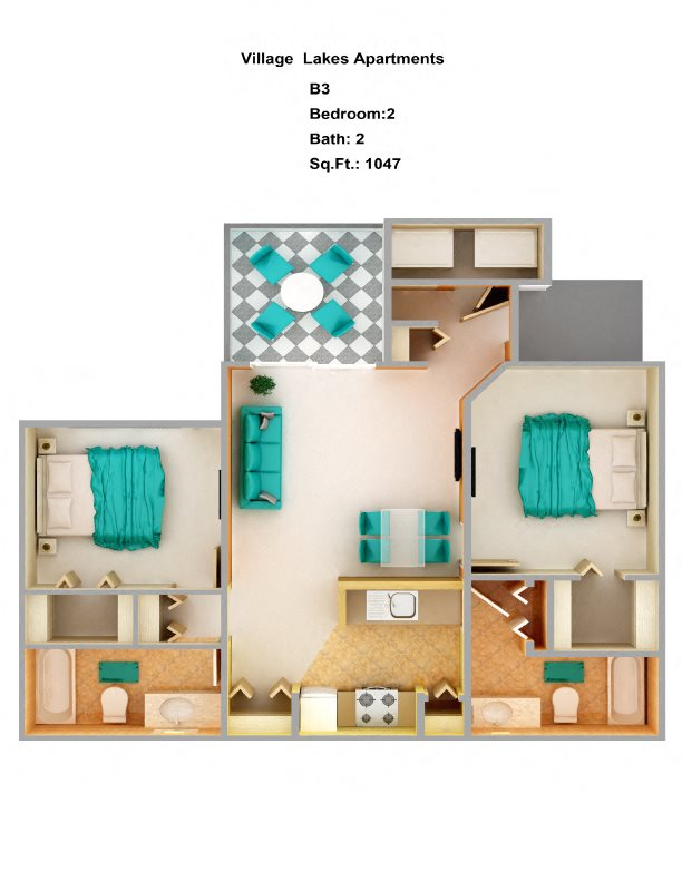 2 Bed/ 2 Bath B3 Floor Plan 6