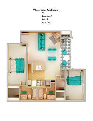 2 Bed/ 2 Bath B2