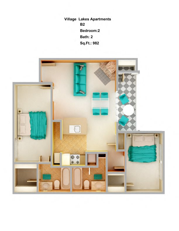 2 Bed/ 2 Bath B2 Floor Plan 5