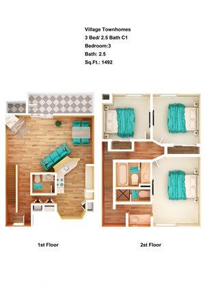 3 Bed/ 2.5 Bath C1