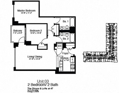 747 East 47th Street 2 Bedroom Floor Plan 4