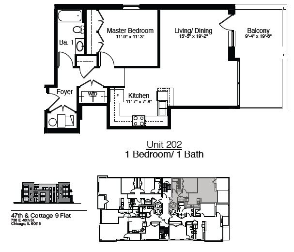 747 East 47th Street 1 Bedroom Floor Plan 1