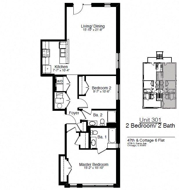 4739 & 4745 S. Evans 2 Bedroom Floor Plan 3