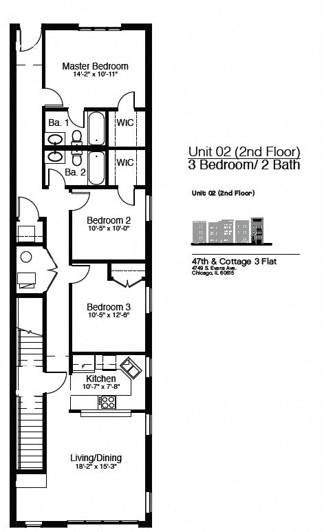 4749 S. Evans - 2nd Floor 3 Bedroom Floor Plan 6